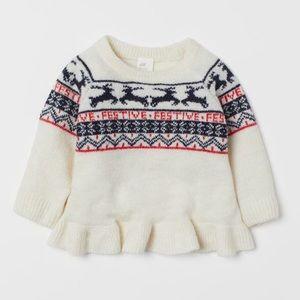 """NWT H&M Knit Sweater """"Festive"""" Size 1-2Y"""